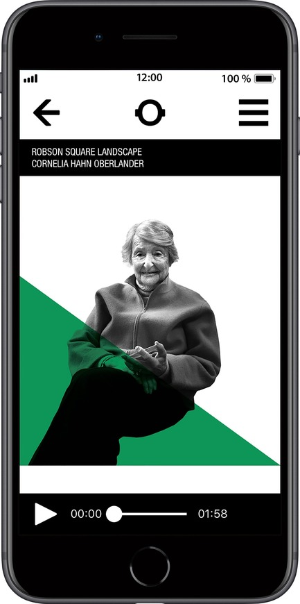 Press kit | 2390-01 - Press release | Portrait Sonore Launches its Free Application on Art, History and Architecture - Portrait Sonore - Multimedia Design - Screenshot of Portrait Sonore's App showing landscape architect Cornelia Oberlander. - Photo credit: © Portrait Sonore, 2018