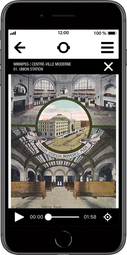 Press kit | 2390-01 - Press release | Portrait Sonore Launches its Free Application on Art, History and Architecture - Portrait Sonore - Multimedia Design - Screenshot of Portrait Sonore's App showing archive image of Union Station in Winnipeg. - Photo credit: © Portrait Sonore, 2018