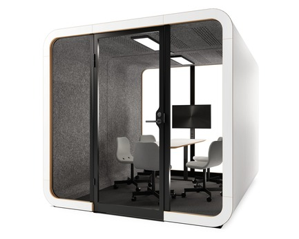 Press kit | 3176-01 - Press release | Framery Acoutics Introduce New Products at Neocon 2018 - d|vision 21 - Product -  Framery's new model, 2Q is designed for 4-6 people. It's the best place to co-create, brainstorm and have great meetings. The superior sound insulation system ensures that your meetings won't disturb the office – and the office noise won't disturb you.<br><br>Model: Framery 2Q  - Photo credit: Framery
