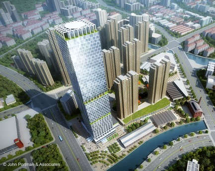 Dossier de presse | 3258-03 - Communiqué de presse | John Portman & Associates Unveils Design for Super Tall Tower in Wuxi, China - John Portman & Associates - Competition - Crédit photo : John Portman & Associates