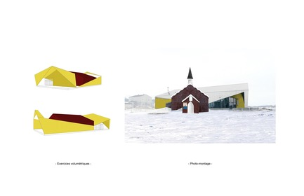 Press kit | 3256-01 - Press release | Nunavik's New Cultural Centre Opens Its Doors - Blouin Orzes architectes - Institutional Architecture - Volumetric studies and collage including historic church<br> - Photo credit: Blouin Orzes architectes