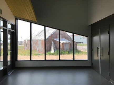 Press kit | 3256-01 - Press release | Nunavik's New Cultural Centre Opens Its Doors - Blouin Orzes architectes - Institutional Architecture - View of the lobby showing historic church<br> - Photo credit: Blouin Orzes architectes