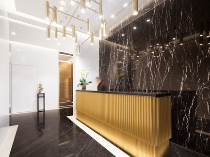 Press kit | 2317-02 - Press release | Make Completes High Rise Luxury Residential Tower in Wan Chai - Make Architects - Residential Architecture - Residential reception area - Photo credit: John Madden