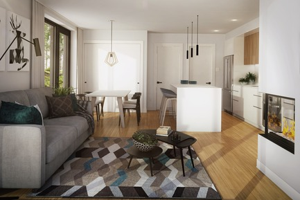 Press kit | 1867-04 - Press release | Official Launch of Arborescence, a New Mountain Condo Development in Bromont - KnightsBridge - Residential Architecture - Living room with fireplace - 1-bedroom unit - Photo credit: KnightsBridge