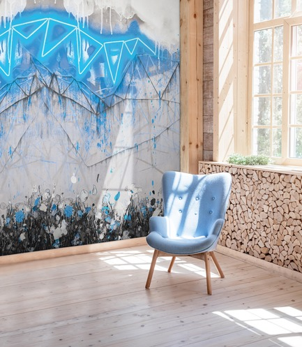 Dossier de presse | 3279-04 - Communiqué de presse | FEATHR & Artist Lee Herring Collaborate On New Wallpaper Collection - FEATHR - Residential Interior Design -  Neon Bunting in Electric Blue  - Crédit photo : Ievgeniia Pidgorna/Alamy/Lee Herring