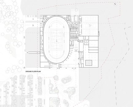 Press kit | 1018-07 - Press release | Leconsortium Metaform / Mecanoo est retenu pour construire le premier vélodrome du Grand-Duché de Luxembourg - Metaform architects - Concours - Plan Rez-de-chausée - Photo credit: Metaform