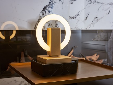 Press kit | 3412-02 - Press release | Karice, Award Winning Designer Unveils its Latest Luminaire - Olah Table Lamp - Karice Enterprises Ltd. - Product -  Olah Table Lamp - Anodized Light Gold finish. - Photo credit: Jordan N. Dery