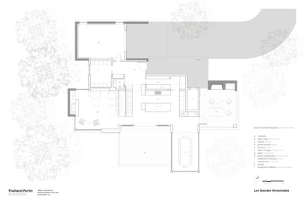 Press kit | 1572-02 - Press release | Long Horizontals - Thellend Fortin Architectes - Residential Architecture - ground floor plan - Photo credit: Thellend Fortin Architectes