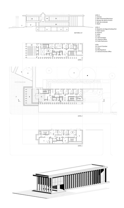 Press kit | 1172-07 - Press release | Hôtel de ville de Rigaud - Affleck de la Riva architectes - Architecture institutionnelle - Rigaud City Hall - Plans - Photo credit: Affleck de la Riva, architectes