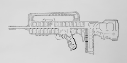 Dossier de presse | 985-01 - Communiqué de presse | Aérial - Baptiste Debombourg - Art - Tradition of Excellence XI -Famas-F1-, drawing, frame, pencil on vinci paper 45x100cm