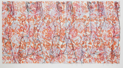 Press kit | 701-06 - Press release | Ghada Amer, Valérie Blass and Wangechi Mutu exhibitions at the MAC - Musée d'art contemporain de Montréal (MAC) - Event + Exhibition - Ghada AmerOrange Dream, 2007Sérigraphie sur papier coton coloré fait main STPI145,4 x 275 cm  - Photo credit: © Ghada Amer et Reza FarkhondehAvec l'aimable permission de Cheim & Read, New York.