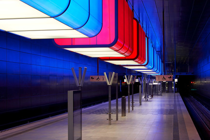 Press kit | 809-10 - Press release | Azure magazine announces the winners of it's 3rd annual AZ Awards - Azure Magazine - Competition - Interiors - Commercial<br><br>HafenCity University Subway Station<br>by Pfarre Lighting Design, Raupach Architekten, Design Stauss Grillmeier