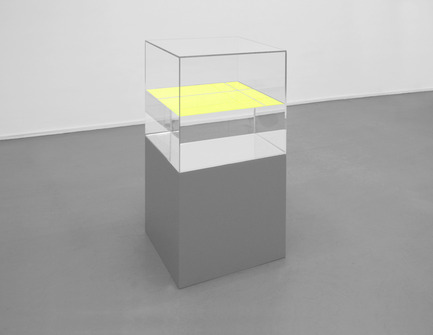 Press kit | 873-01 - Press release | Superbodies - The city of Hasselt - Event + Exhibition - Ann Veronica Janssens Yelllow Yellow2010glass, paraffin oil, fluo serigraph, wooden base50 x 50 x 101 cmcourtesy Galerie Micheline Szwajcer