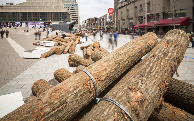 Press kit - Press release - 560 KM: A thousand logs on Sainte-Catherine Street - Quartier des spectacles Partnership