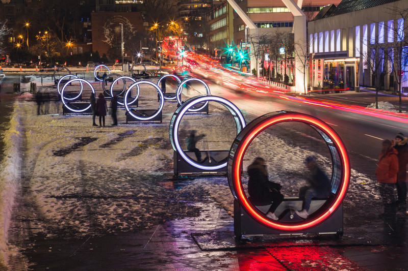 Newsroom - Press release - Luminothérapie:Loop's Giant Illuminated Wheels Take Over the Place des Festivals - Quartier des spectacles Partnership